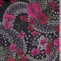 Black Floral Medallion Crinkled Chiffon