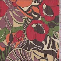Ecru/Red/Avocado Tropical Floral Crinkled Chiffon