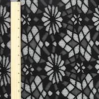 *2 YD PC--Black Geometric Floral Lace Knit