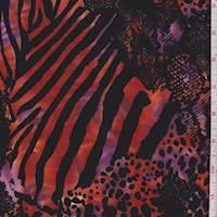 Sunset Orange/Magenta Animal Print ITY Jersey Knit