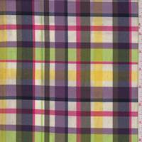 Plum/Lime/Yellow Plaid Cotton Poplin