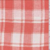 Vibrant Orange/White Plaid Cotton Gauze