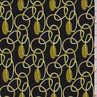 *3 YD PC--Black/Gold Oval Link Corduroy