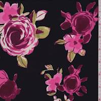 Black/Hot Pink Rose Floral ITY Jersey Knit