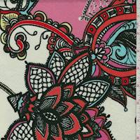 White/Pink Multi Stylized Floral Liverpool Knit