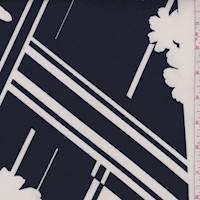 Navy/Ivory Modern Floral Plaid Scuba Knit
