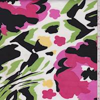 White/Pink/Lime Abstract Floral Cotton Sateen