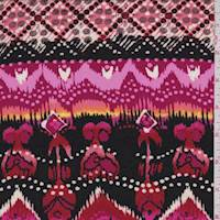 Pink/Black/Berry Flamestitch Print Rayon Challis