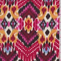 Pale Red Multi Baroque Ikat Rayon Challis
