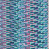 Mint/Pink Digital Flamestitch Rayon Challis