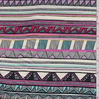 Ivory/Turquoise Tribal Stripe Rayon Challis