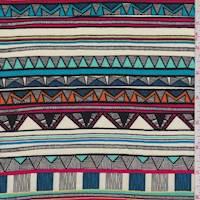 Cream/Aqua Tribal Stripe Rayon Challis