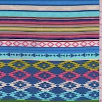 Denim Blue Multi Southwest Stripe Rayon Challis
