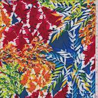 Blue/Red Multi Leaf Print Rayon Challis