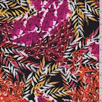 Black/Hot Pink Multi Leaf Print Rayon Challis