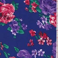 Cobalt/Purple/Red Floral Rayon Challis