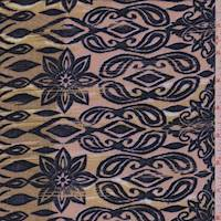 Cocoa Beige Starburst Floral Rayon Challis
