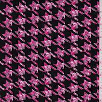 Black/Hot Pink Floral Houndstooth Rayon Challis