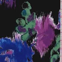 Black/Purple/Cobalt Floral Rayon Challis