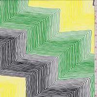 Yellow/Green/Black Linear Zig Zag Rayon Challis