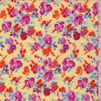 Yellow/Tangerine Floral Eyelet Knit