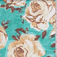 Aquamarine/Gold Rose Sateen