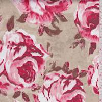Beige/Coral Red Rose Sateen