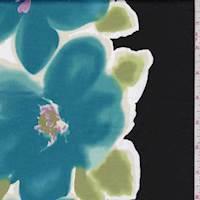 Black/Aqua Bold Floral Sateen