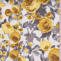 White/Antique Gold Floral Sateen