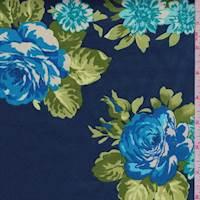 Deep Blue Floral Cluster Sateen