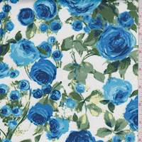 White/Blue Rose Garden Sateen