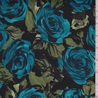 Black/Teal/Olive Modern Floral Sateen
