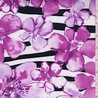 White/Orchid Purple Floral Stripe Sateen