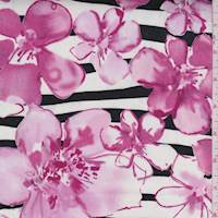 White/Orchid Pink Floral Stripe Sateen