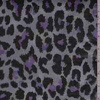 Silver Pixelated Animal Print Sateen