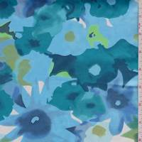 Teal/Sky Blue Floral Sateen