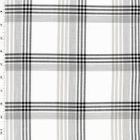 *2 1/2 YD PC--White/Black/Gray Cotton Plaid Twill Shirting