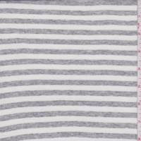 *2 YD PC--White/Heather Grey Stripe Jersey Knit