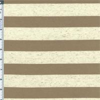 *1 1/4 YD PC--Beige/Oatmeal Flecked Striped Jersey Knit