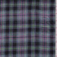 Black Multi/Ecru Multi Plaid Reversible Cotton Gauze