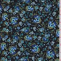 Black Multi Mini Floral Bouquet Poplin