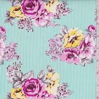 Mint Green/Pink Stripe Floral Poplin