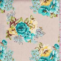 Tan/Teal Stripe Floral Poplin