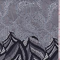 *1 SHAWL--Black/Sky Grey Novelty Lace