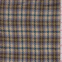 Beige/Teal/Olive Houndstooth Plaid Jacketing