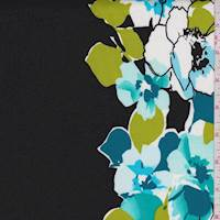 White/Teal/Black Floral Cotton