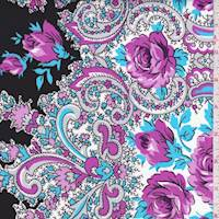 Black/Orchid/Turquoise Stylized Floral Cotton
