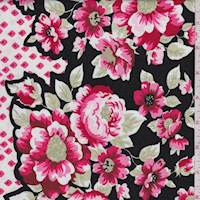 Black/Deep Pink Floral Cotton
