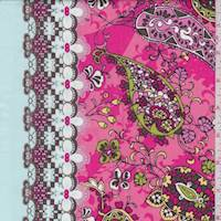 Pale Blue/Melon Pink Paisley Cotton