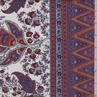 White/Plum/Orange Stylized Cotton